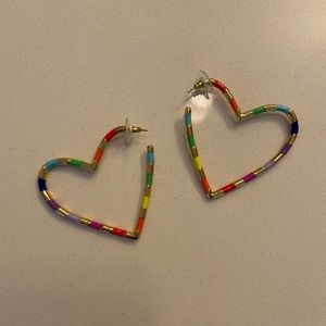 Bauble Bar multi colored heart shaped earrings